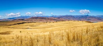 Panorama of the Drakensberg mountains in South Africa royalty free stock images