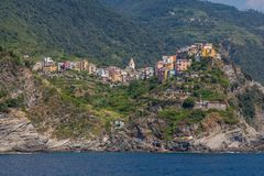 Panorama landscape of the town of Corniglia in Cinque Terre royalty free stock image