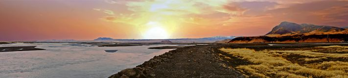 Panorama landscape on Iceland at the solheimajokull gletsjer at Stock Images