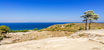 Panorama landscape in Kamiros. Beautiful summer landscape of Rhodes island stock photography