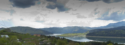 Panorama Landscape of lake Bicaz Romania Royalty Free Stock Image