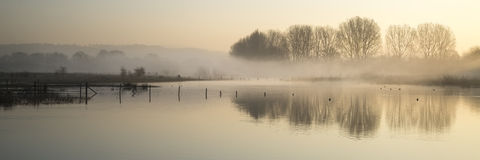 Panorama landscape of lake in mist with sun glow at sunrise Stock Photography