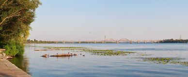 Panorama landscape. `Merefa-Kherson` railway bridge across the Dnieper River in Dnepropetrovsk, Ukraine stock photos