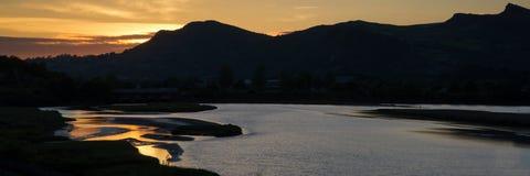 Panorama landscape mountain range and beach Stock Photos