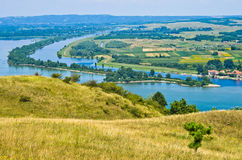 Panorama and landscape near Danube river stock image