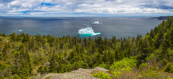 Panorama landscape of Newfoundland coast with icebergs. Panorama view of icebergs on ocean near St. John`s, Newfoundland, Canada, North America royalty free stock images