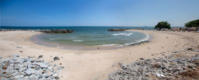 Panorama landscape ocean beach curve horizental line. In summer banner size royalty free stock images