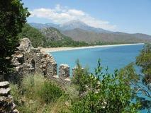 Panorama landscape olympos turkey. Panorama of turkish coast olympos resort Stock Images