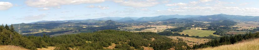 Panorama landscape of Oregon. Taken on top of mount pisgah. Mostly random fields with trees and various houses scattered about Royalty Free Stock Image