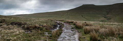 Panorama landscape of path leading towards Corn Du mountain in B Stock Photography