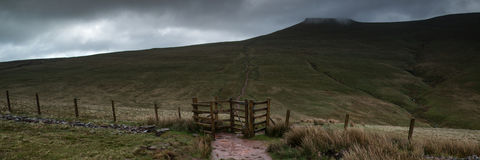 Panorama landscape of path leading towards Corn Du mountain in B Stock Images