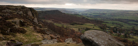 Panorama landscape Peak District National Park Royalty Free Stock Photos