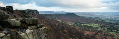 Panorama landscape Peak District National Park Stock Photo