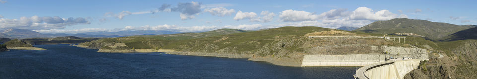 Panorama. Landscape with reservoir and dam. Atazar area Royalty Free Stock Image