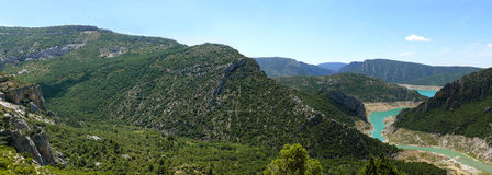 Panorama landscape of river Noguera Ribagorçana Stock Photos