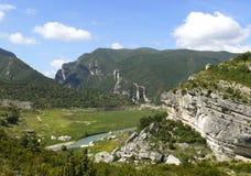 Panorama landscape of river Noguera Ribagorçana Royalty Free Stock Images