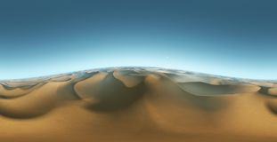 Panorama landscape of sand dunes, environment HDRI map. Equirectangular projection, spherical panorama. 3d rendering Royalty Free Stock Photo