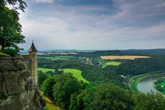 The panorama of landscape in Saxon Switzerland, Germany Stock Photo