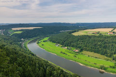 The panorama of landscape in Saxon Switzerland, Germany Stock Photography