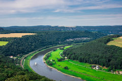 The panorama of landscape in Saxon Switzerland, Germany Royalty Free Stock Image