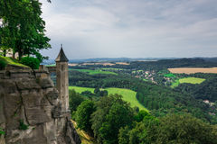 The panorama of landscape in Saxon Switzerland, Germany Stock Image