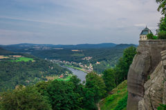 The panorama of landscape in Saxon Switzerland, Germany Royalty Free Stock Photography