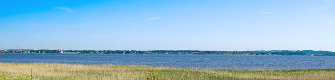 Panorama landscape with a ship Royalty Free Stock Photos