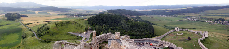 Panorama of a landscape from Spisky hrad castle royalty free stock photography