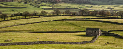 Panorama landscape stone barn in Autumn Royalty Free Stock Photos