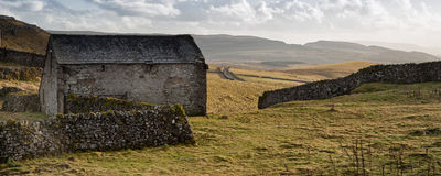 Panorama landscape stone barn in Autumn Stock Photo