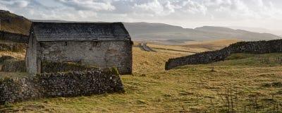 Panorama landscape stone barn in Autumn Stock Photo