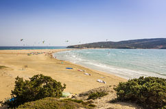 Panorama landscape of surfing beach on Rhodes Stock Photos