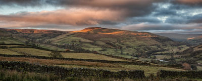 Panorama landscape sweeping countryside view at sunset in Autumn Stock Photography