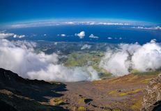 Panorama landscape from the top of Pico volcano at hiking, azores, Portugal Stock Images