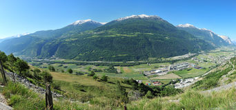 Panorama of landscape in Valais, Switzerland Stock Image