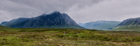 Panorama landscape view of Buachaille Etive Mor, Scotland Royalty Free Stock Photos