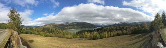 Panorama landscape view from Lake Bicaz. In Romania Stock Photos