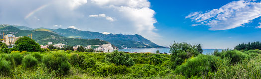 Panorama landscape view on mountain and sea in Montenegro Royalty Free Stock Image