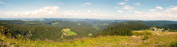 Panorama landscape view over black forest Germany. Royalty Free Stock Photo