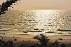 Panorama landscape view of sea beach in sunset MUMBAI, MAHARASTRA, INDIA royalty free stock photography
