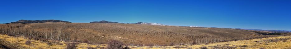 Panorama Landscapes views from Road to Flaming Gorge National Recreation Area and Reservoir driving north from Vernal on US Highwa. Y 191, in the Uinta Basin royalty free stock photography