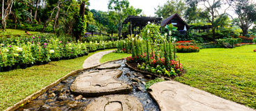 Panorama Landscaping in the garden. Stock Photos