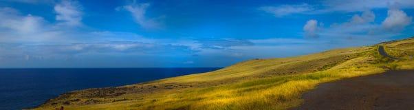 Panorama-Landschaft-Piilani-Landstraßen-Maui-Felsen stockbilder
