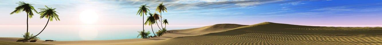 Panorama- landskap av den tropiska stranden med palmträd arkivfoto