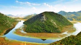 Panorama- landskap av Skadar sjön, Montenegro Arkivbild