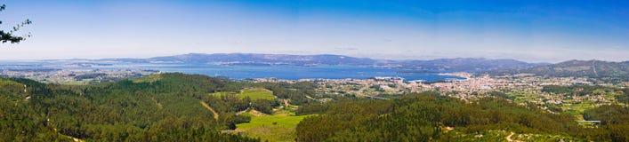 Panorama- landskap av Vilagarcia, Galicia, Spanien arkivbild