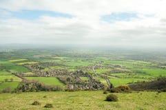 Panorama- landskap för Malvern kullar i den engelska bygden Arkivfoto
