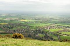 Panorama- landskap för Malvern kullevår i den engelska bygden Arkivbilder