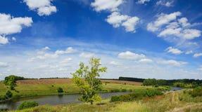 Panorama- landskap för solig sommar med gröna kullar, floden, fält och avlägsna trän royaltyfri foto