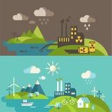 Panorama- landskap med ekologibegrepp och begreppsförorening Arkivbild
